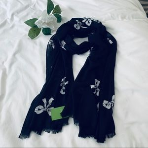 Kate spade Oblong Bow Scarf Wrap black and white